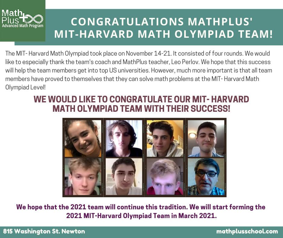 Congratulations MathPlus MIT-Harvard Math Olympiad Team!