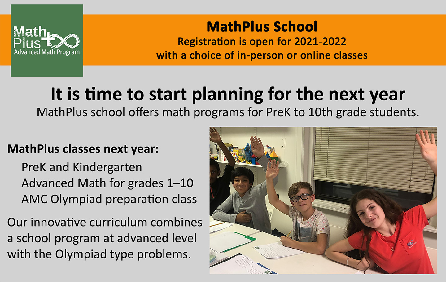 Registration is open for 2021-2022 with a choice of in-person or online classes